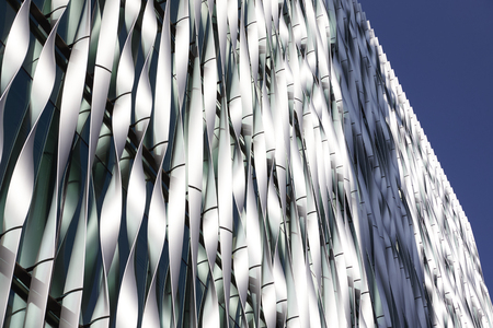 LONDON - MAY, 2017: Close up of twisted metal modern architectural design detail, City Of London, London, EC3 close up