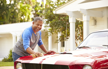 Retired Senior Man Cleaning Restored Car Banco de Imagens - 101692891