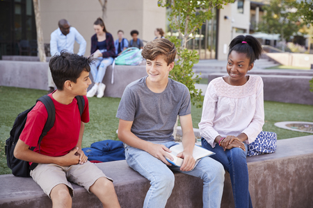 Group Of High School Students Studying Outdoors During Recess