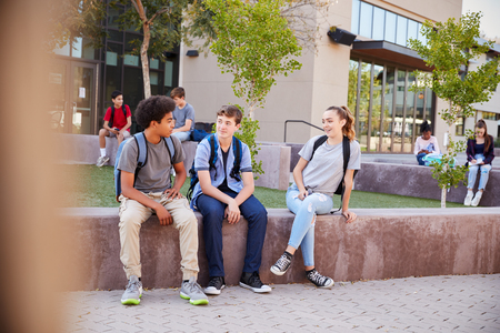Group Of High School Students Hanging Out During Recess