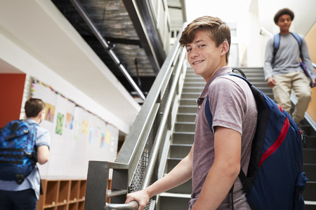 Portrait Of Male High School Student Standing On Stairs In College Building Reklamní fotografie