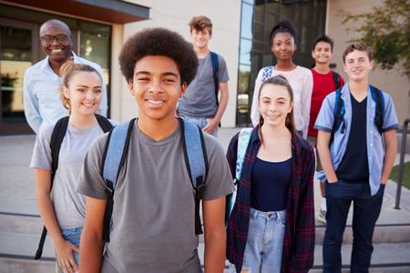 Portrait Of High School Students With Teacher Outside College Buildings Reklamní fotografie