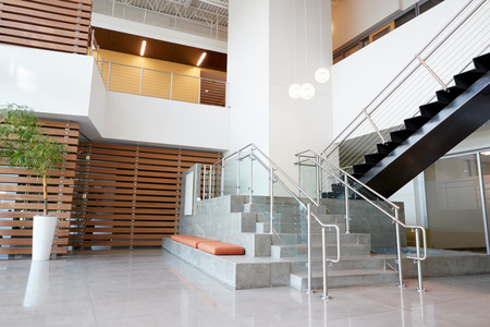 Atrium lobby and stairs in a modern office building