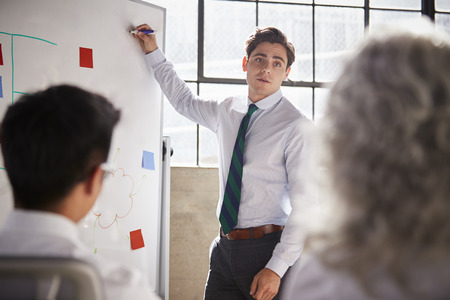 Young white businessman uses whiteboard in meeting, close up Stock Photo