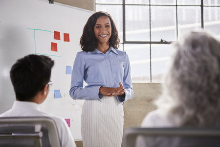 Mixed race businesswoman giving a presentation at a meeting Stock Photo