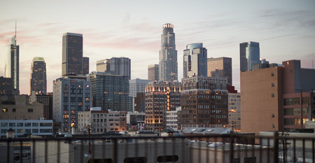 View Of Los Angeles Skyline At Sunset Banco de Imagens