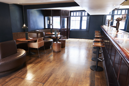 Interior Of Empty Bar With Stools And Counter Standard-Bild - 109006162