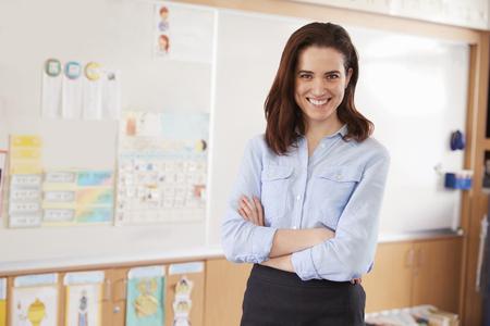 Portrait of young female school teacher in classroom