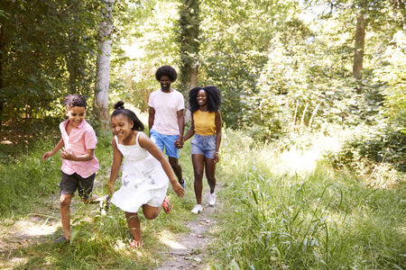 A black couple and their two kids walking in a forest Standard-Bild