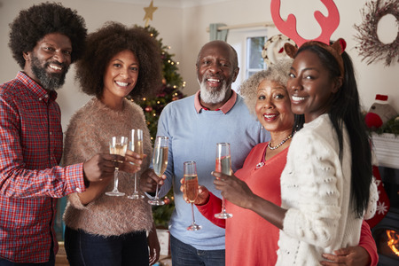 Portrait Of Parents With Adult Offspring Making A Toast With Champagne As They Celebrate Christmas Together Stockfoto