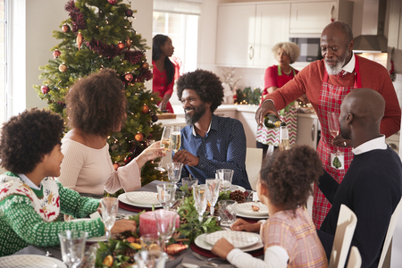 Family talking and raising glasses at the dinner table during a multi generation, mixed race family Christmas celebration