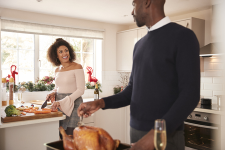 Young adult mixed race couple preparing Christmas dinner together at home, man basting roast turkey in the foreground turning to talk to his partner, front view, close up Stock Photo