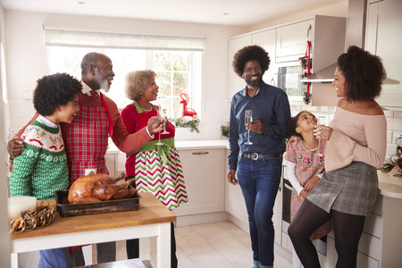 Mixed race, multi generation family talking and drinking champagne in the kitchen while they prepare Christmas dinner together