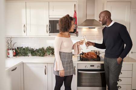 Young adult mixed race couple make a toast with champagne in their kitchen while preparing Christmas dinner, side view Stock Photo