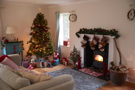 Lounge Decorated For Christmas With Tree And Presents 写真素材