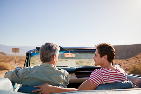 Father and adult son on road trip in open top car, back view