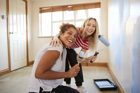 Portrait Of Two Women Decorating Room In New Home Painting Wall Banque d'images - 113920135