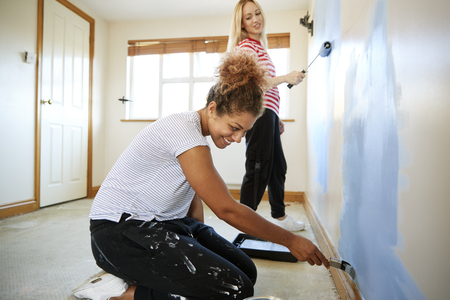 Two Women Decorating Room In New Home Painting Wall Banque d'images - 113920146