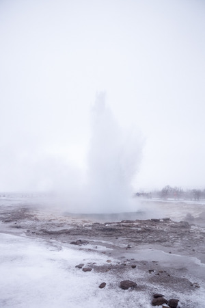 Eruption Of Steam And Water From Geothermal Pool In Iceland