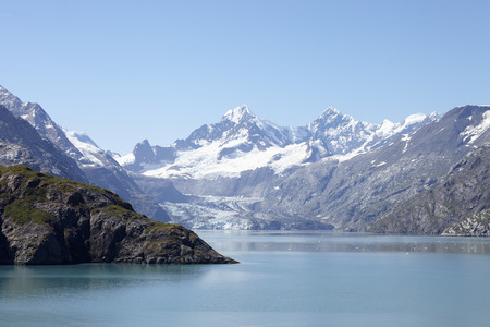 Glacier Flowing Into Lake In Alaska USA Stock Photo
