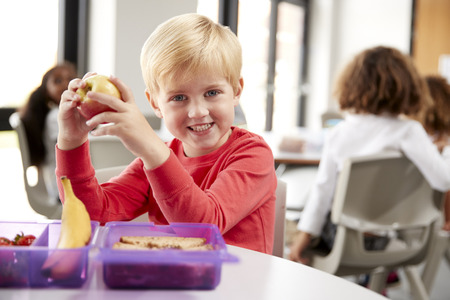 Young white schoolboy sitting at a table smiling and holding an apple in a kindergarten classroom during his lunch break, close up