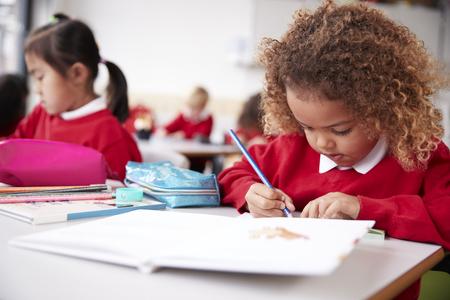 Schulmädchen mit gemischter Abstammung in Schuluniform, das an einem Schreibtisch in einem Kindergarten-Klassenzimmer sitzt, Zeichnung, Nahaufnahme