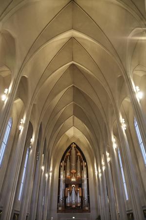 Pipe Organ Of Hallgrimskirkja Church In Reykjavik Imagens