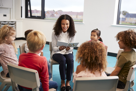 Young female school teacher reading a book to kindergarten children, sitting on chairs in a circle in the classroom listening