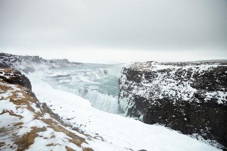 Frozen Waterfalls At Gullfoss In Iceland