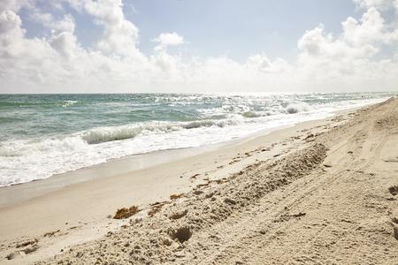 Ocean Waves Breaking On Empty Sandy Spanish Beach