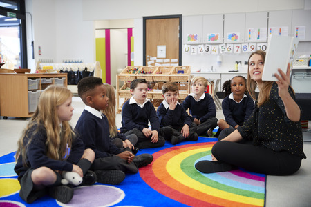 Vrouwelijke leraar houdt een boek omhoog voor haar klas basisschoolkinderen die op de grond zitten in een klaslokaal, zijaanzicht
