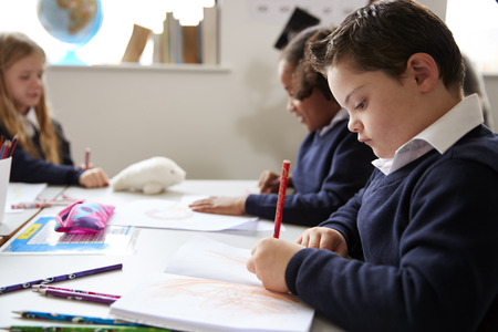 Pre-teen school boy with Down syndrome sitting at a desk writing in a primary school class, close up, side view Imagens