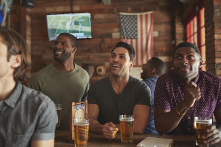 Male Friends Drinking Beer And Watching Game On Screen In Sports Bar