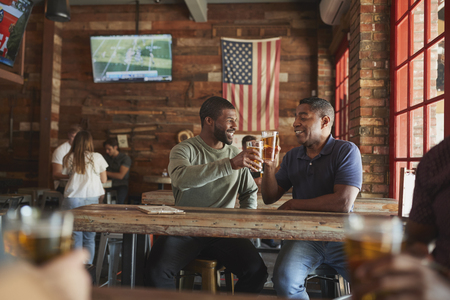 Two Male Friends Meeting In Sports Bar Making Toast Together