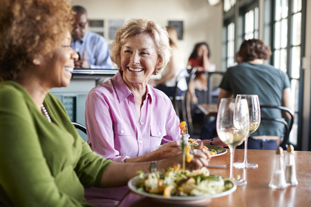 Two Smiling Senior Women Meeting For Meal In Restaurant