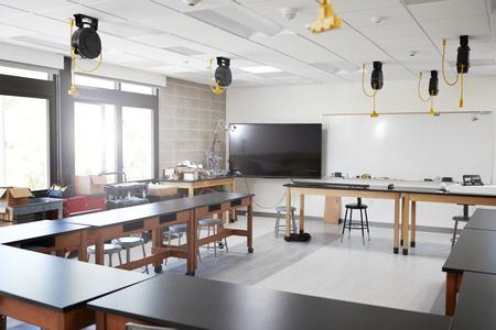 Robotic Vehicle On Desk In Empty Science Classroom Stock Photo