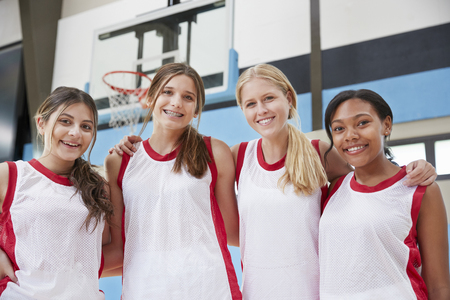 Portrait Of Female High School Basketball Team Stock Photo
