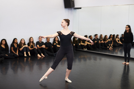 Female Ballet Student At Performing Arts School Performs For Class And Teacher In Dance Studio Stok Fotoğraf