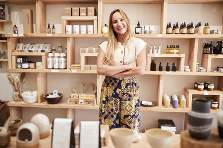 Portrait Of Female Owner Of Independent Cosmetics Store Imagens