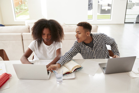 Teenage boy helping his younger sister with her homework, both using laptops, elevated view