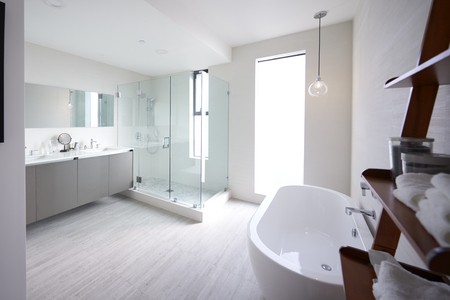 Modern domestic bathroom with shower cabin and freestanding bath, sunlight, no people Foto de archivo - 119507834