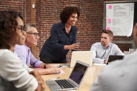 Mujer de negocios madura, posición, y, líder, oficina, reunión, alrededor, mesa