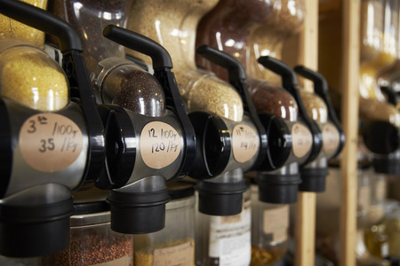 Dispensers For Cereals And Grains In Sustainable Plastic Free Grocery Store 写真素材