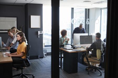 Joven equipo creativo trabajando juntos en computadoras en una oficina informal, visto a través de una pared de vidrio Foto de archivo