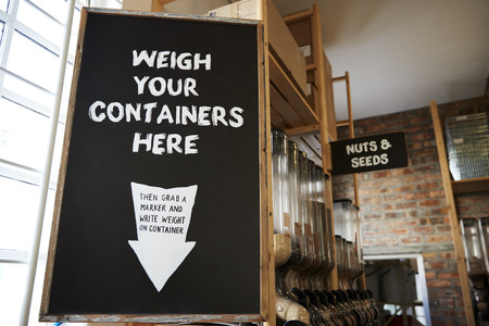 Weigh Your Container Sign In Sustainable Plastic Free Grocery Store