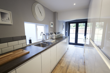 Sink and worktop in a newly refurbished kitchen