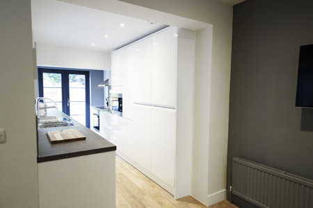 Contemporary kitchen in a newly decorated house Stock Photo