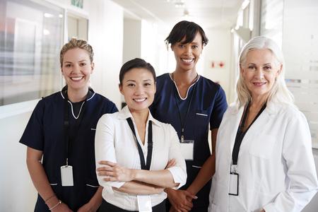 Portrait Of Female Medical Team Standing In Hospital Corridor Reklamní fotografie