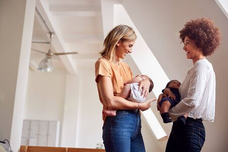 Two Mothers Meeting Holding Newborn Babies At Home In Loft Apartment Banco de Imagens