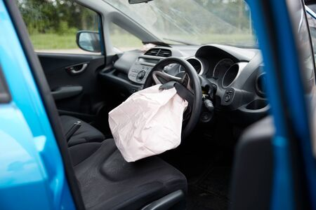 Interior Of Car After Accident With Safety Airbag Deployed 스톡 콘텐츠